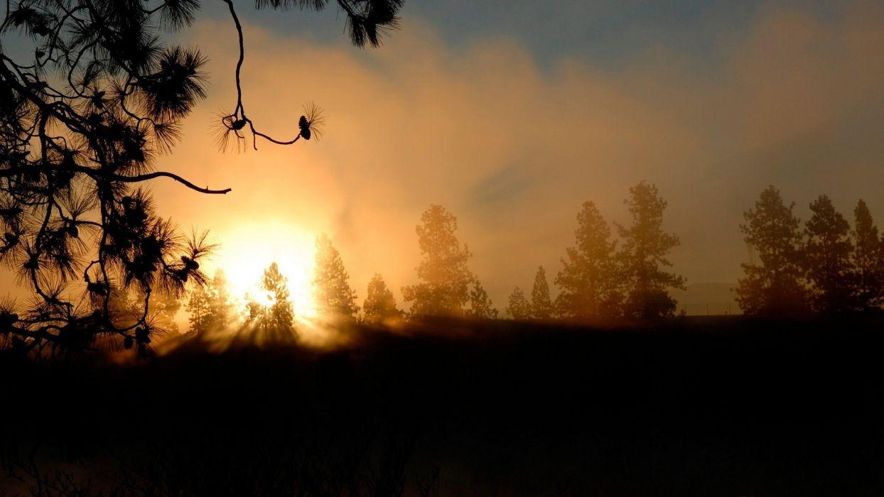 sky nature blue sun sunset orange clouds sunrise colors wallpaper