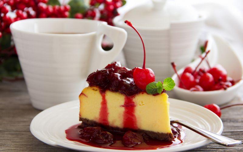 desert cake chery sweet food wallpaper