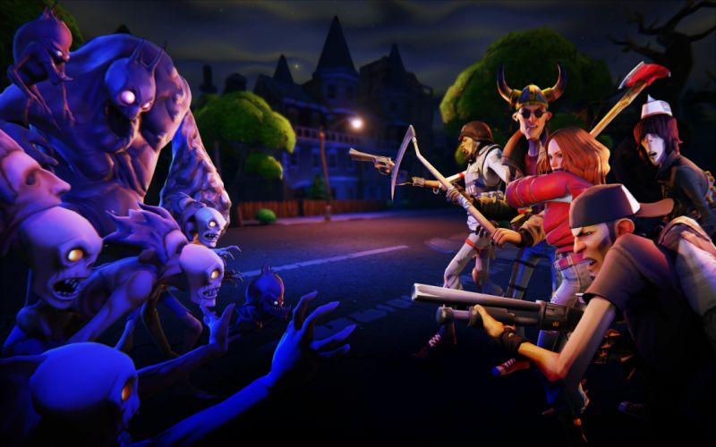 game fight zombies night wallpaper