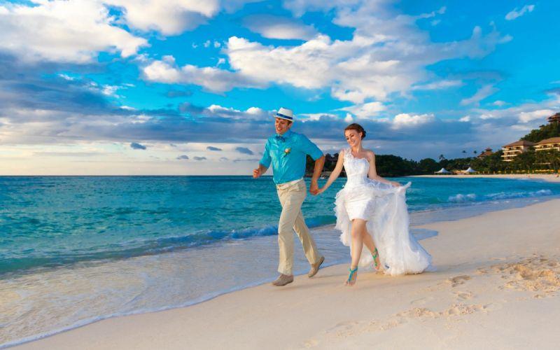 sea man woman love bride sea merrige wallpaper