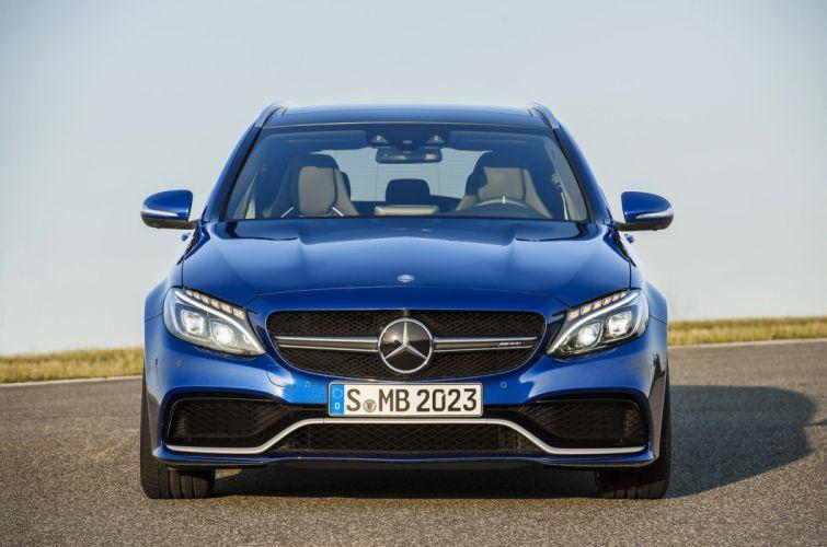 Mercedes Benz C63-AMG Station Wagon 2015 blue wallpaper