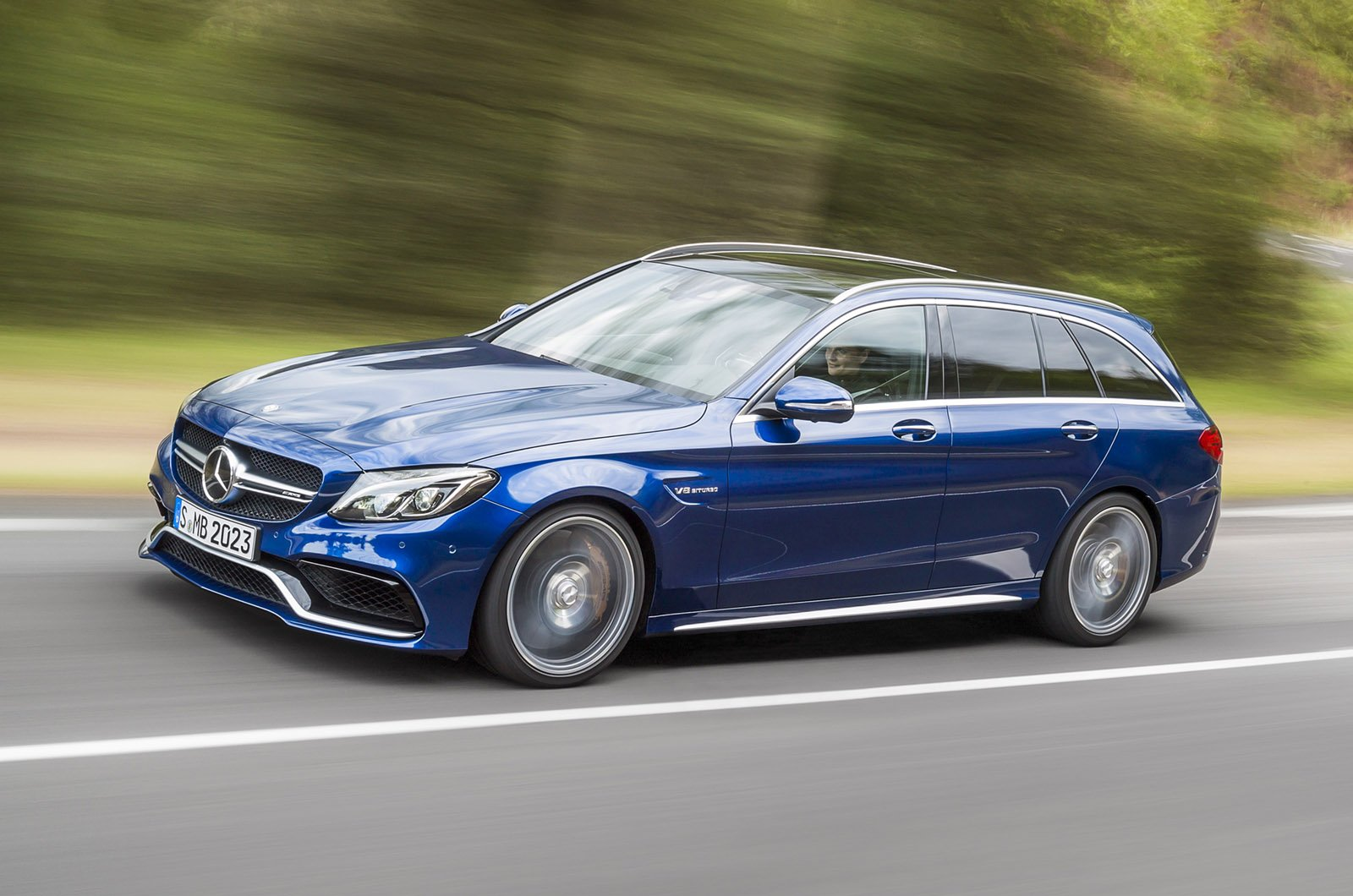 Mercedes benz c63 amg station wagon 2015 blue wallpaper for Mercedes benz sport wagon