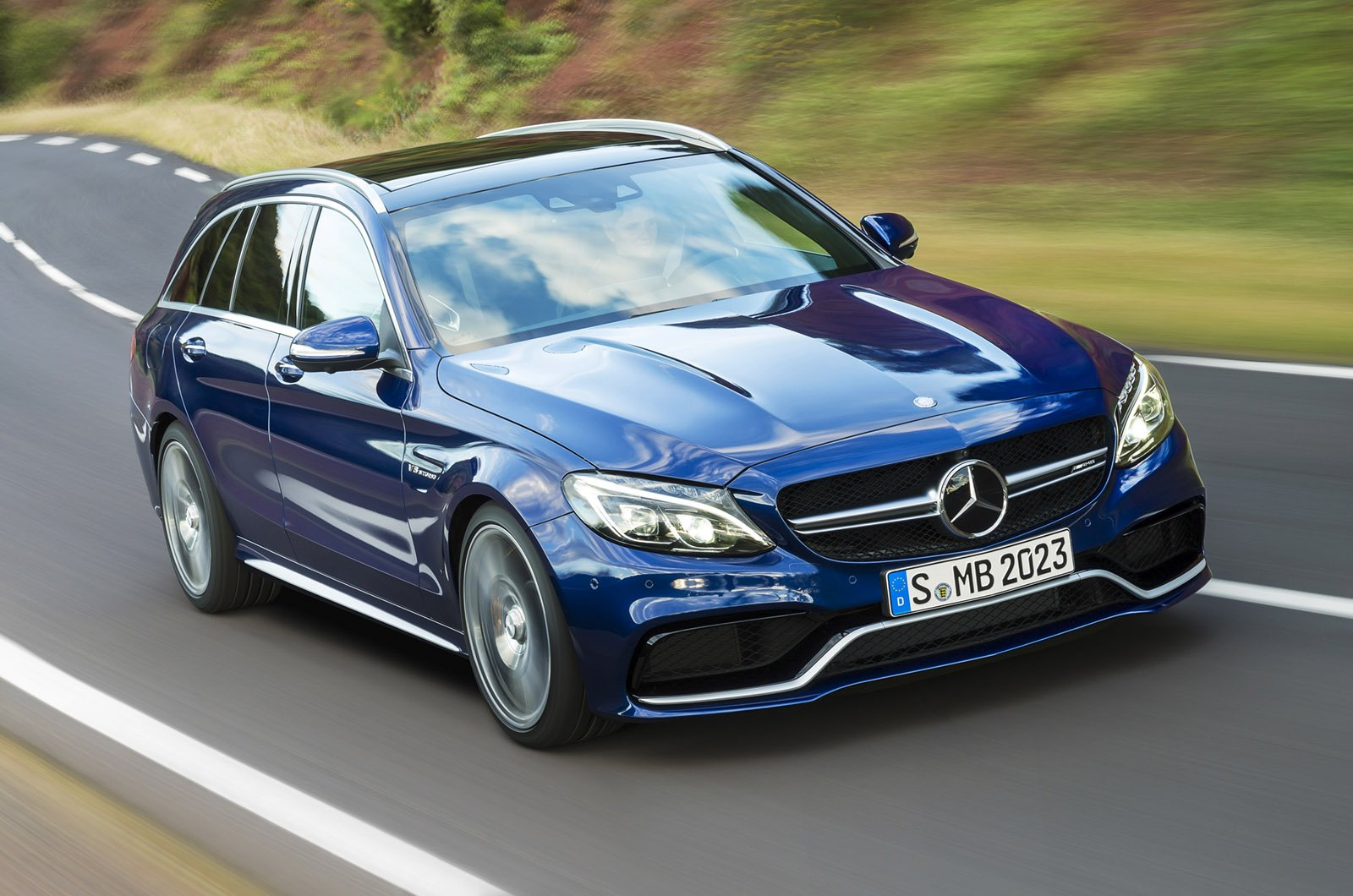 mercedes benz c63amg station wagon 2015 blue wallpaper
