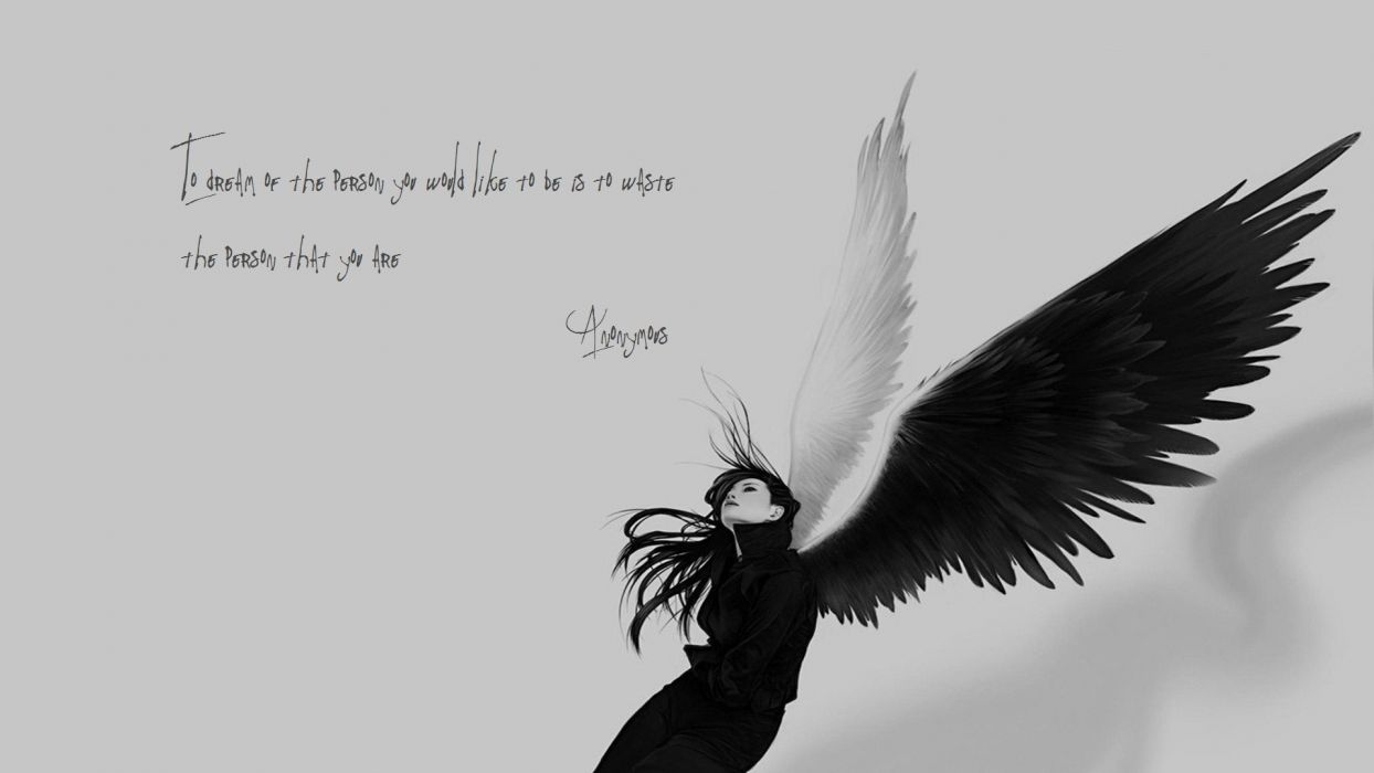 BLACK END WHITE - angel wings quotes sad wallpaper