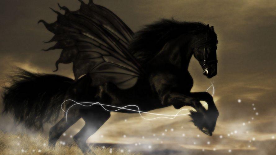 BLACK HORSE - pegasus art abstract wallpaper