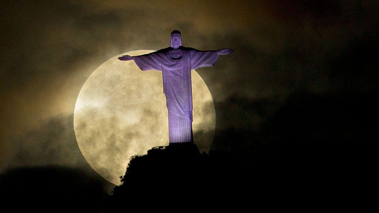 CHRIST THE REDEEMER - moon Brazil purple wallpaper
