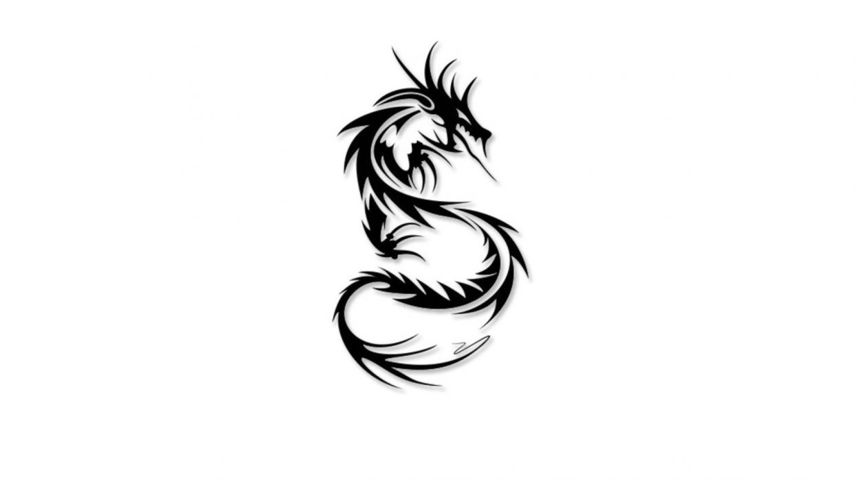 DRAGON - fantasy art black tattoo wallpaper