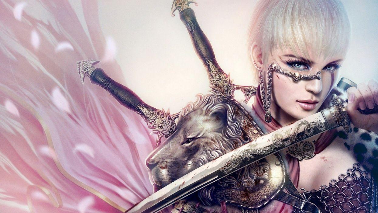 WARRIOR - blonde armor fantasy art wallpaper