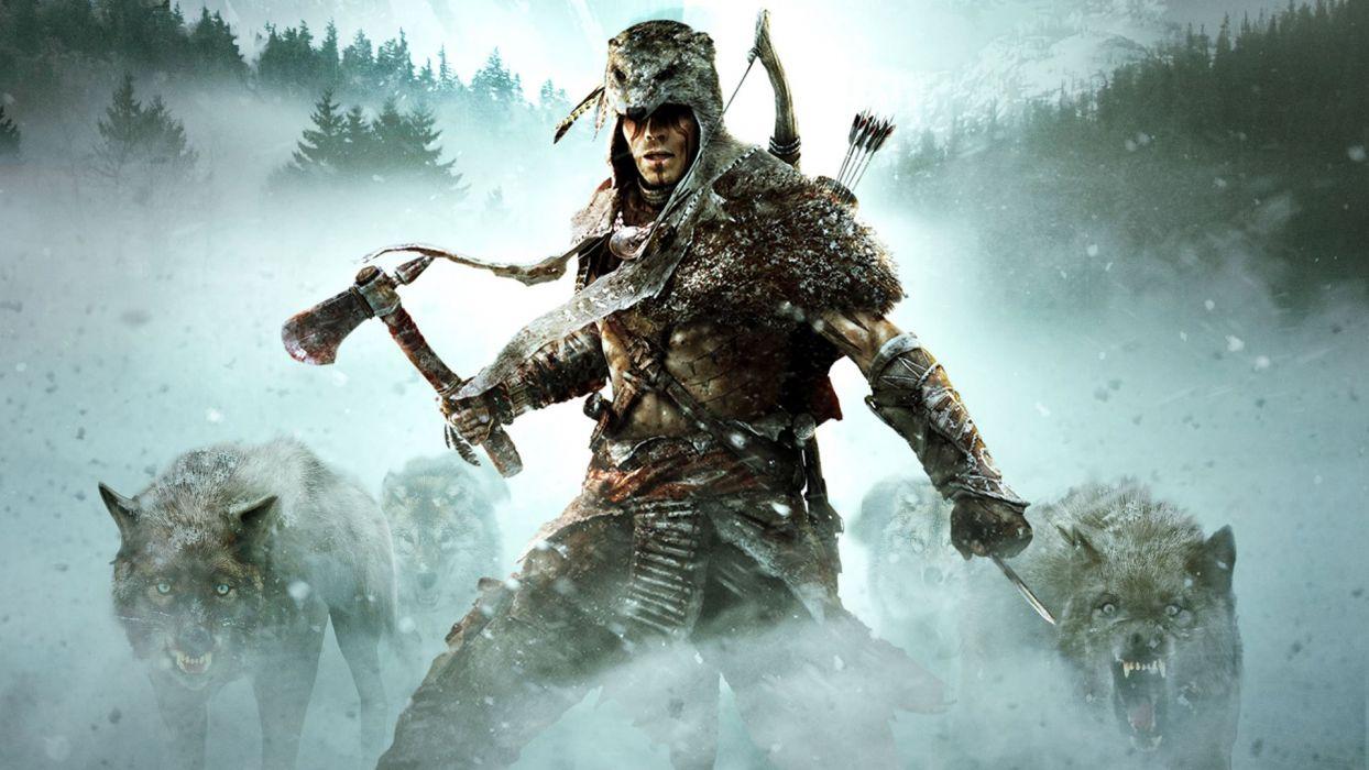 ASSASSINS CREED - snow hatchet arrow wolf wallpaper