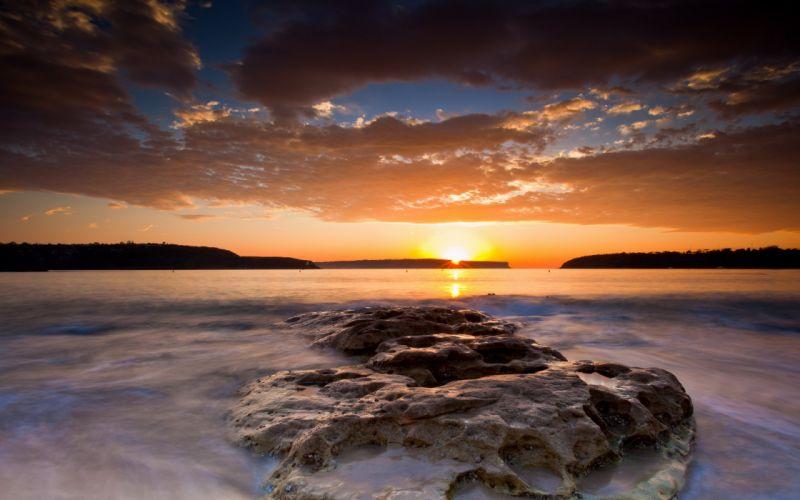 sunset sunerise sun sky orange blue clouds wallpaper