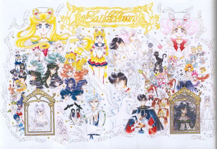 sailor moon group characters anime series wallpaper