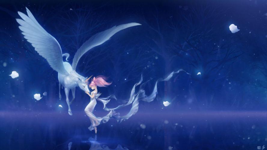 light forest pegasus helios chibiusa sailor moon petals night Lake love wallpaper