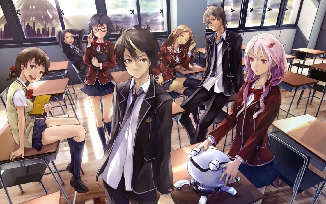 anime-group-school-uniform-pink-hair-class wallpaper
