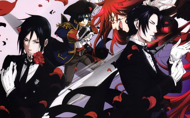 Kuroshitsuji demon red rose petals anime character wallpaper