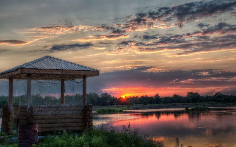 sunset sunrise sun clouds sky blue orange nature wallpaper