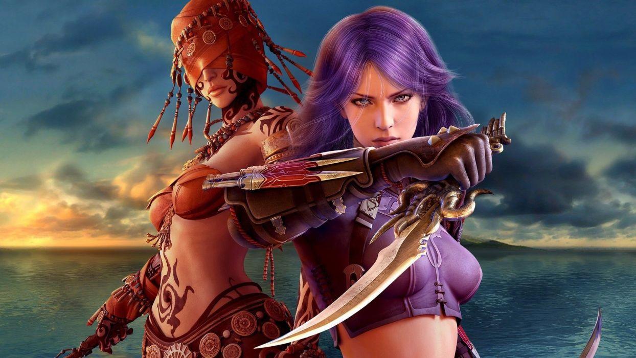 BLINDFOLDED - warrior dagger girl fantasy wallpaper