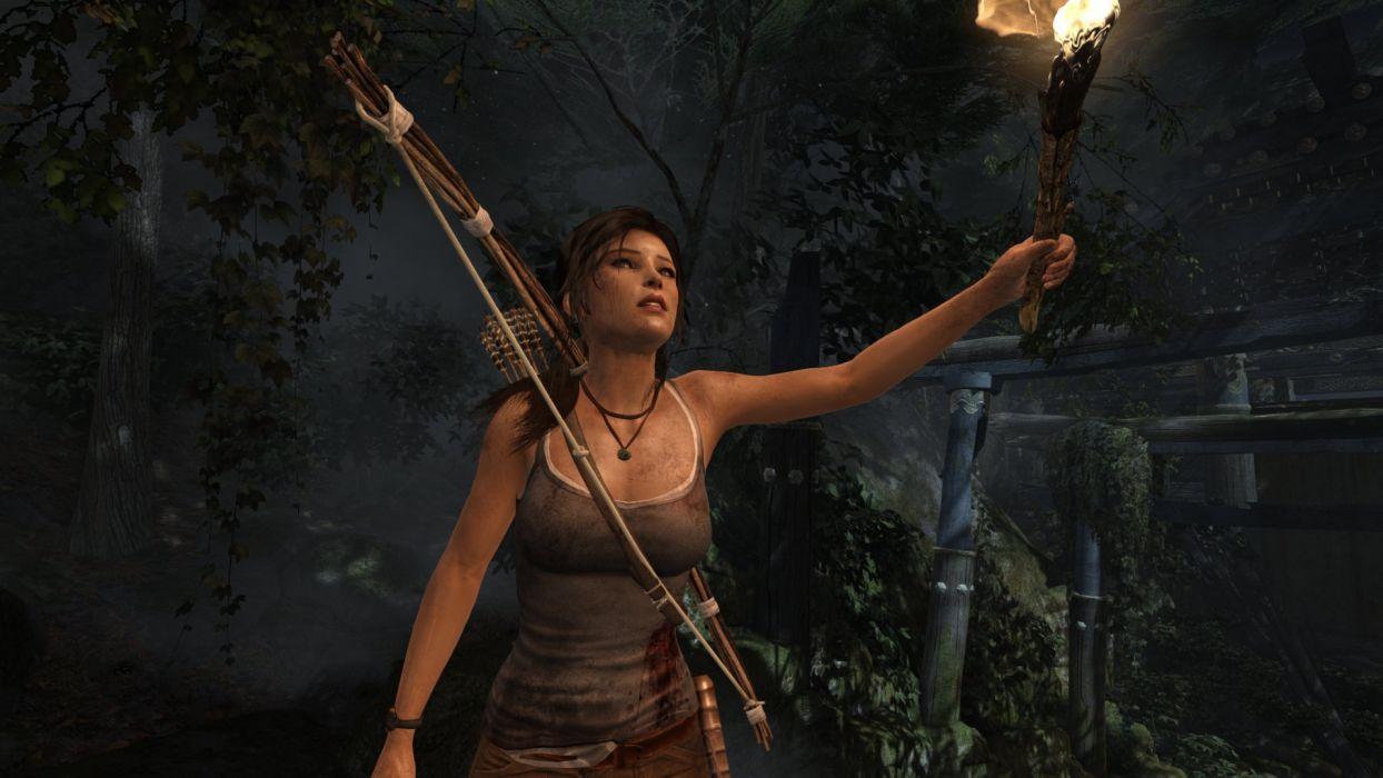 TOMB RAIDER - torch survivor forest game wallpaper
