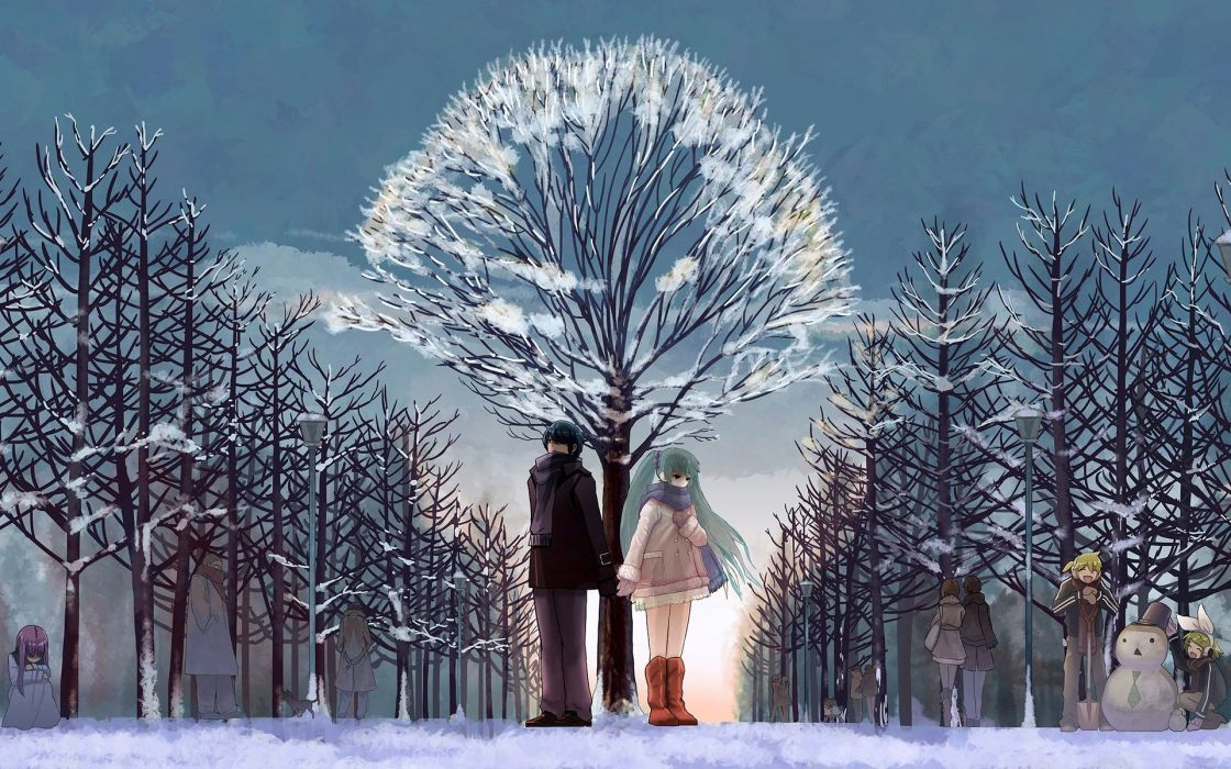 snow sky ice tree couple anime love forest wallpaper