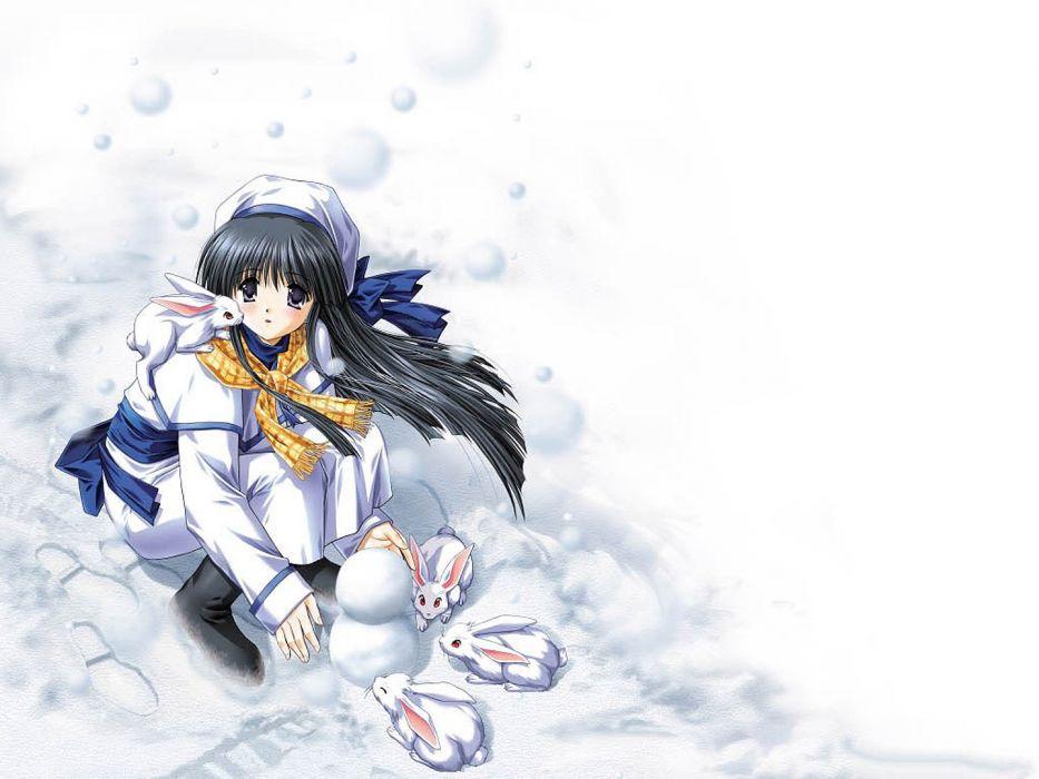 snow Rabbit anime girl black long hair wallpaper