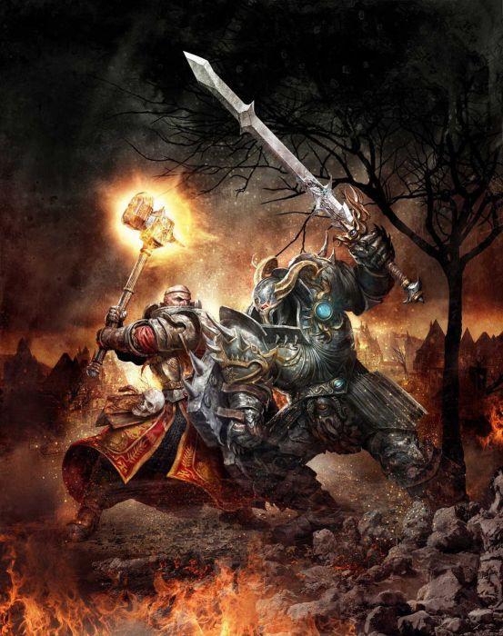 fantasy warrior game weapons hell demon wallpaper