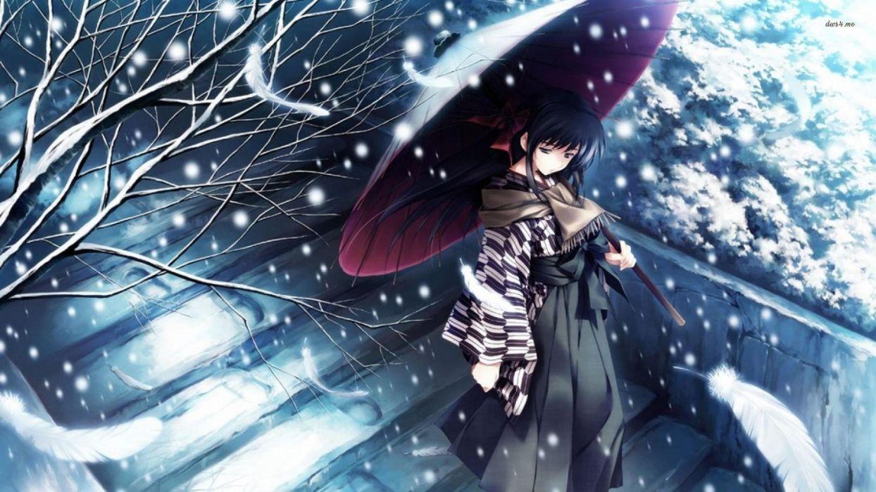 Snow tree kimono girl alone sad anime blue wallpaper