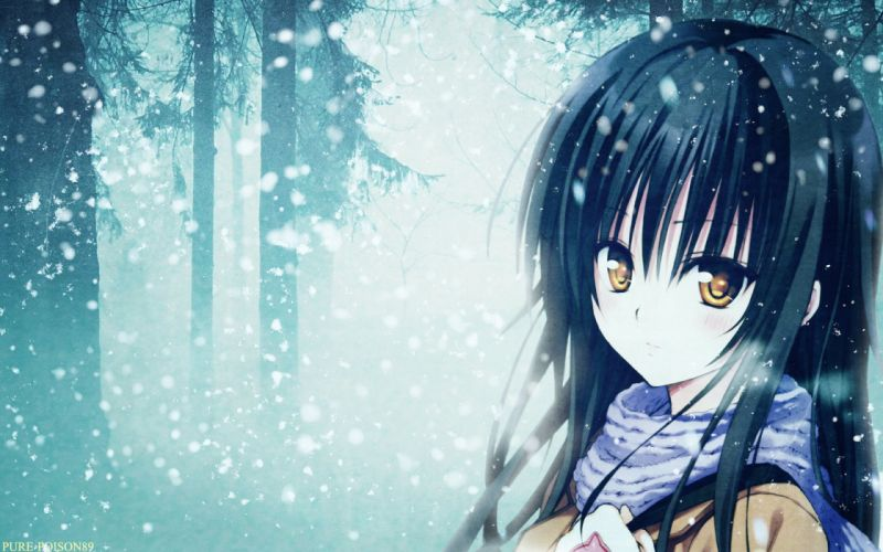 Anime - Blue - Girl - Sad - snow - long-hair tree-forest wallpaper