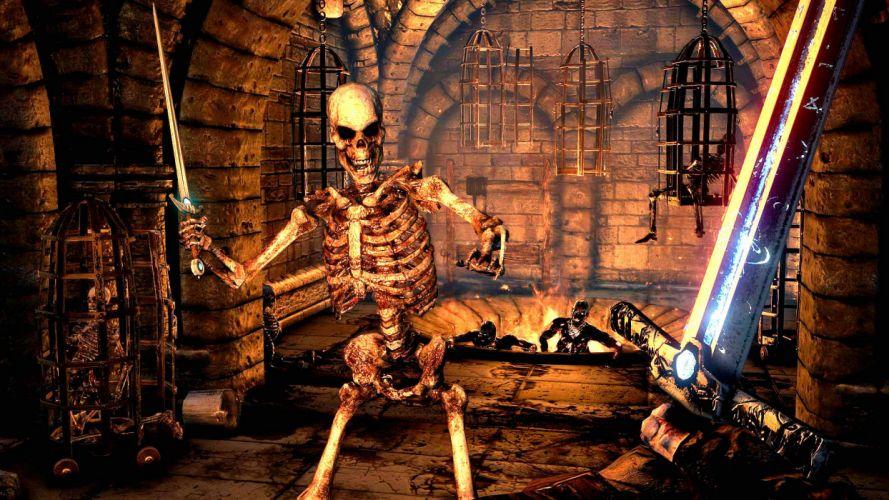 HELLRAID slasher dark horror action fantasy warrior skeleton skull wallpaper