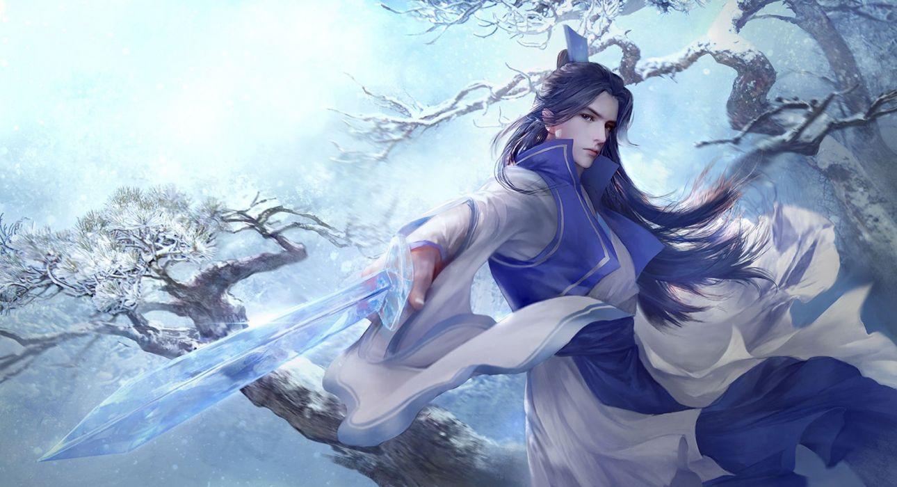 ice sword Samurai long hair boy snow game wallpaper
