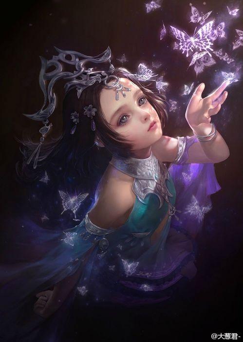 butterfly fantasy girl beautiful blue eyes wallpaper