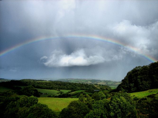 rain rainbow sky nature colors landscapes wallpaper