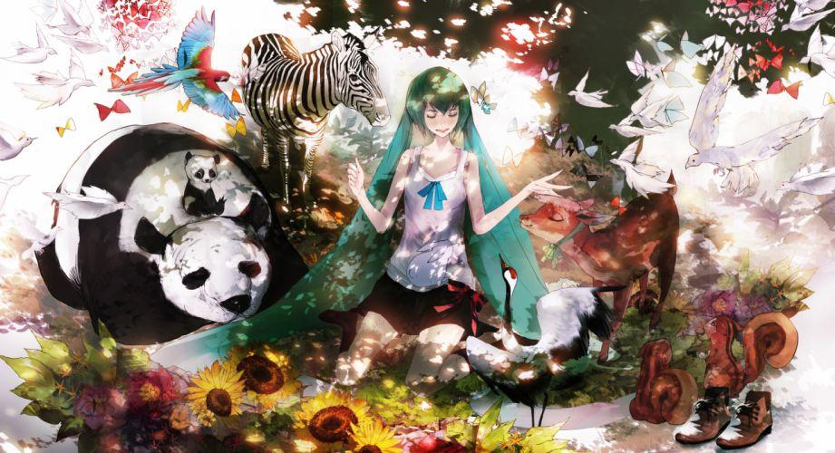 vocaloid panda birds sun flower animal girl wallpaper