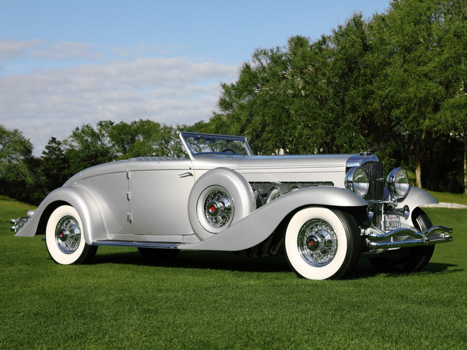 1935 Duesenberg SJN 533-2561 Convertible Coupe SWB Rollston luxury retro wallpaper