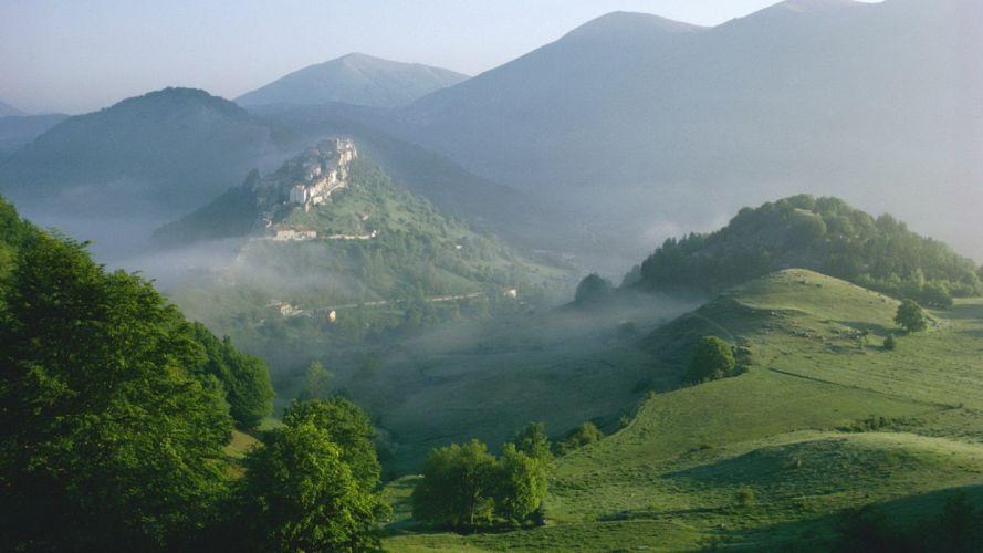 Landscape nature mounain sky blue green wallpaper