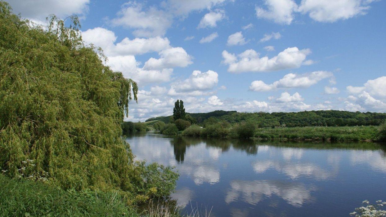 Landscape nature river sky blue green wallpaper