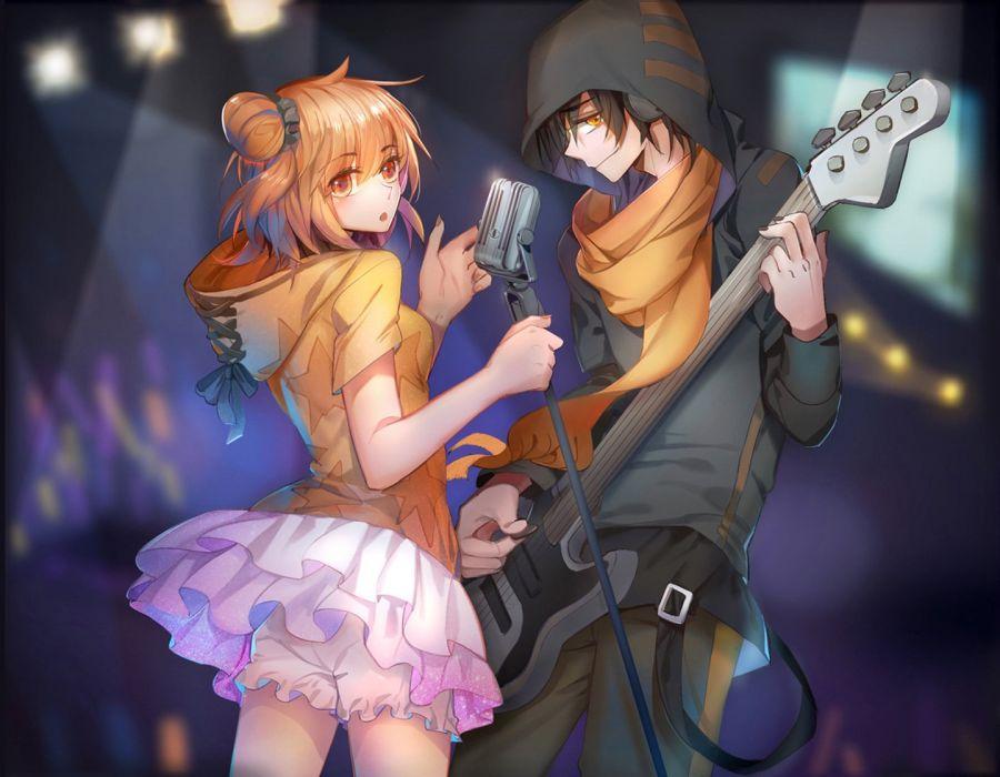 anime manga boy and girl: Music Anime Couple Guitar Girl Boy Singer Wallpaper