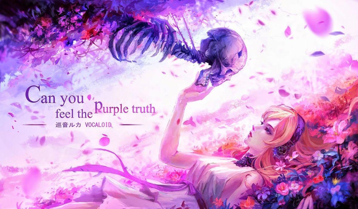 vocaloid girl flower skeleton light blue anime wallpaper