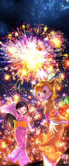anime fireworks chibi small pretty girl kid kimono wallpaper