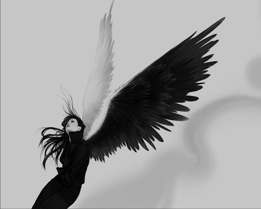 black and white dark angel girl fantasy wallpaper