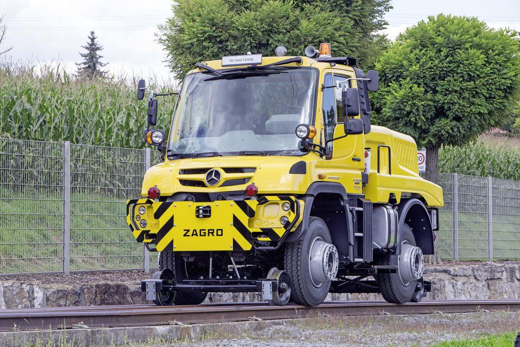 2014 Mercedes Benz Unimog U 423 Road-Railer railroad semi tractor train tracks construcrion wallpaper