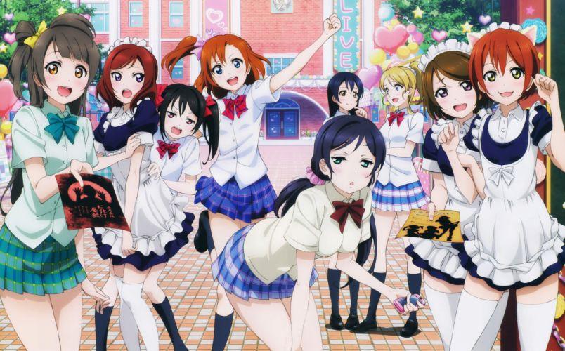 animal ears ayase eli hoshizora rin love live! maid minami kotori murota yuuhei nekomimi seifuku sonoda umi thighhighs toujou nozomi yazawa nico group girls wallpaper