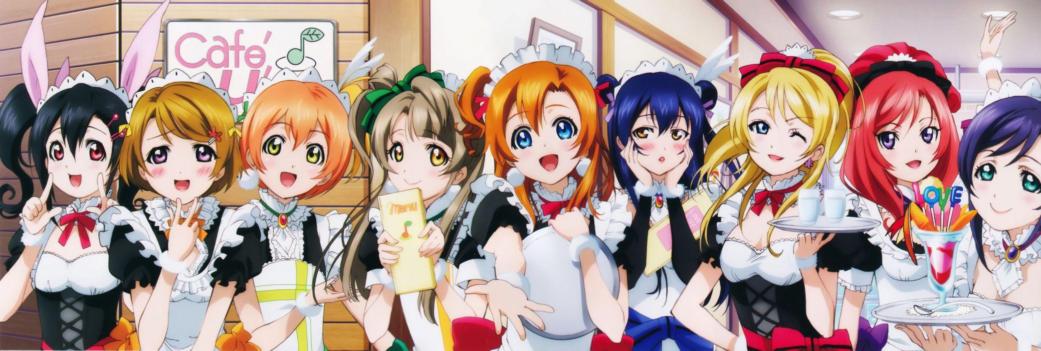 love live! maid ayase eli hoshizora rin koizumi hanayo kousaka honoka wallpaper