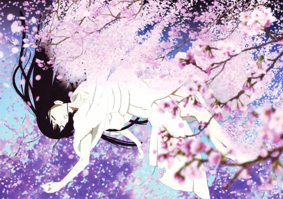 enma ai jigoku shoujo sakura tree long hair wallpaper