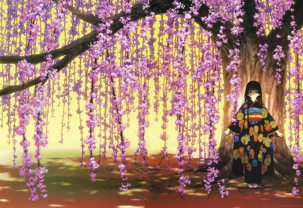 enma ai jigoku shoujo kimono anime girl seies wallpaper