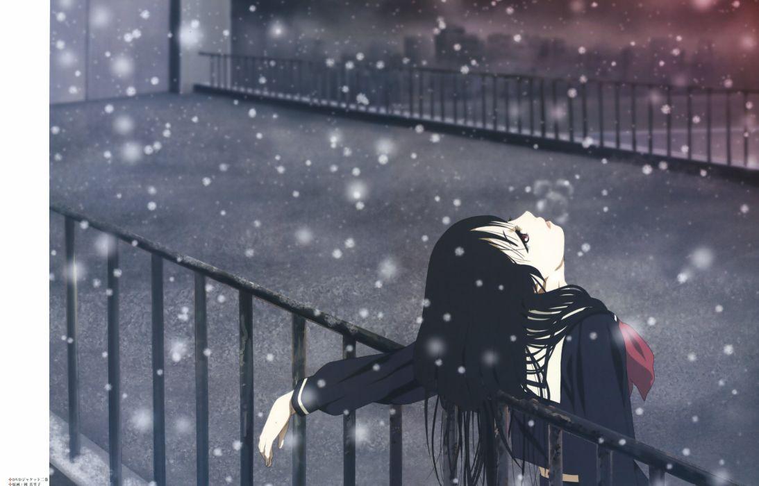 enma ai jigoku shoujo oka mariko seifuku snow alone anime girl wallpaper