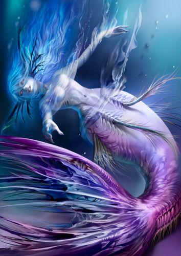 alteil mermaid water red eyes blue hair girl wallpaper