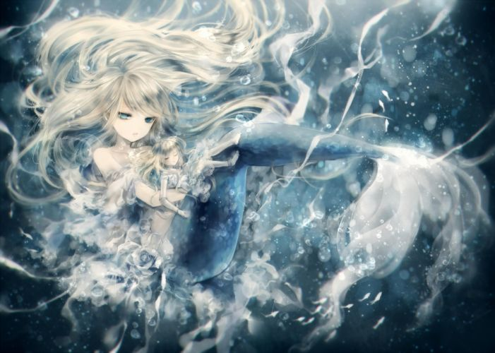 mermaid onineko water blond hair anime girl wallpaper