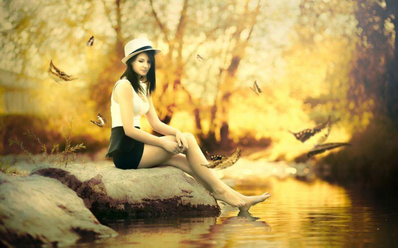 autumn fall girl hat stream stone wallpaper