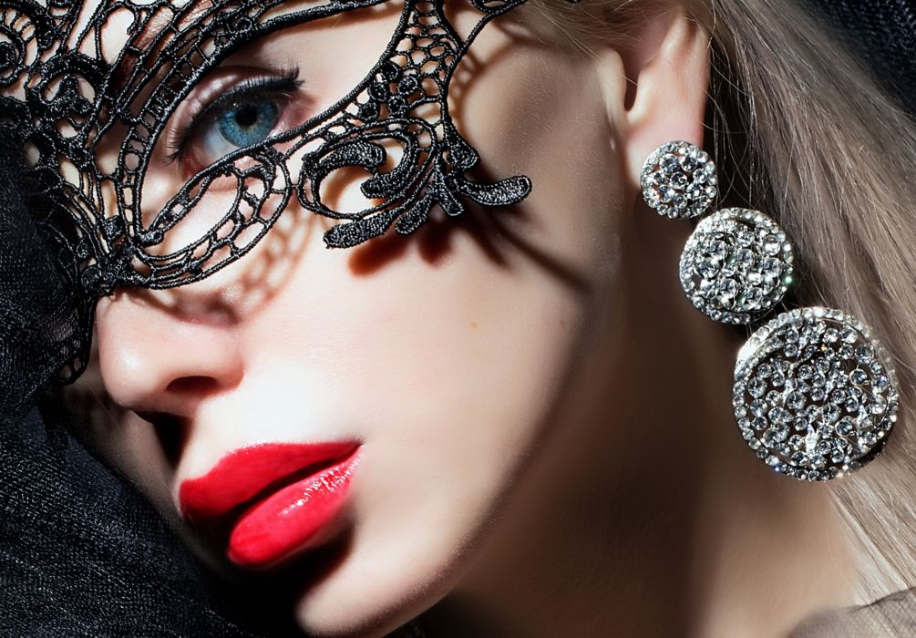 girl makeup lips red eyes eyes face mask  wallpaper