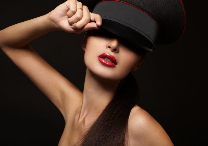 girl model red lips lipstick face hand hair shoulders black background wallpaper