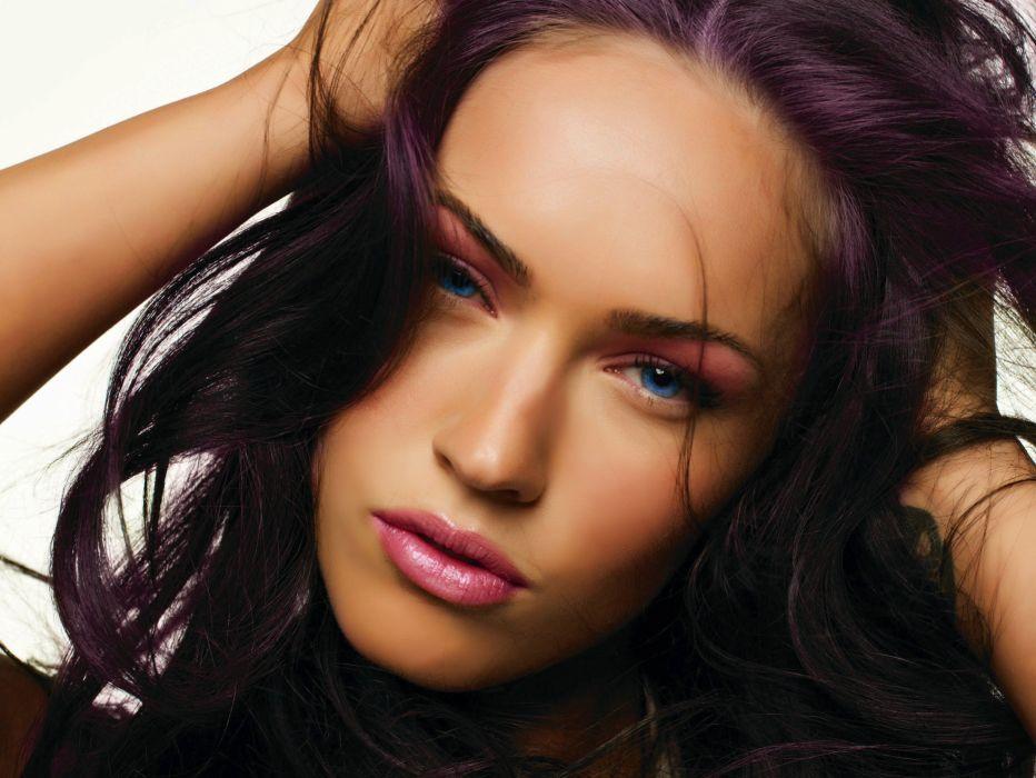 Megan Fox Megan Fox face purple wallpaper